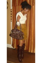 Ralph Lauren sweater - leather skirt - coach purse - boots