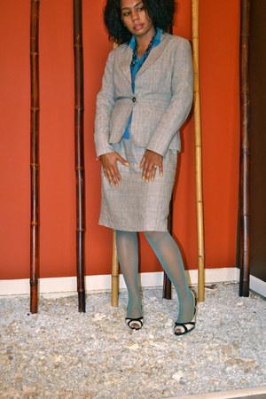 black and white Anne Klein shoes - plaid Larry Levine suit