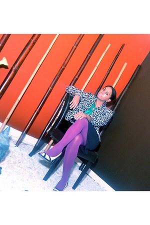black and white Anne Klein shoes - leopard print liz claiborne blazer - purple D