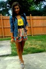 Blue-denim-jacket-jacket-brick-red-printed-wet-seal-skirt-yellow-top