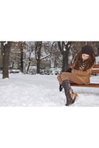 leather printed Hush Puppies boots - bronze Zara coat - dark brown New Yorker ha