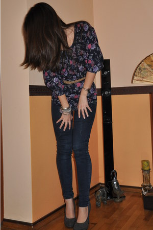 Bershka blouse - denim Zara leggings - camel Bershka belt