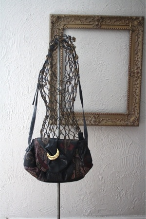 80s Black Patchwork Glam Bag