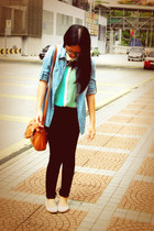 aquamarine sheer two-toned seed top - light blue denim Mirrorcle shirt