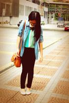 aquamarine sheer two-toned seed top - light blue denim Mirrorcle shirt
