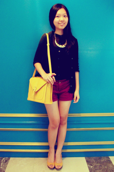 mustard envelope bag - magenta cotton on shorts - black sheer cotton on top