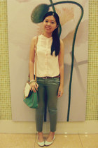 bag - mint-cream Vincci flats - tawny Viss belt - silver skinny pants