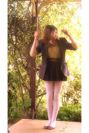 brown vintage blazer - green thrifted cardigan - white aa stockings - brown thir