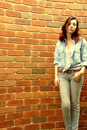 blue vintage lacosic shirt - blue Bettina Liano jeans
