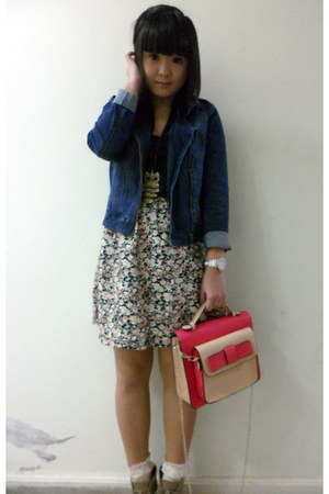 navy denim jacket Dotti jacket - suede Therapy boots