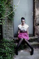 white Ebay shirt - pink second hand skirt - black flea market belt - black H&M t