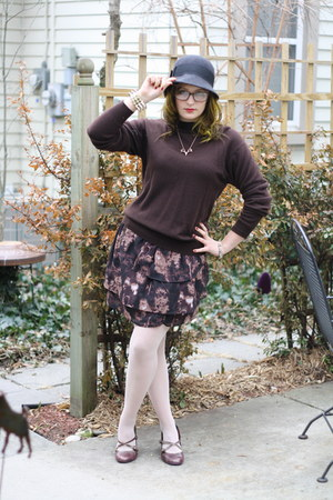 black cloche Urban Outfitters hat - deep purple flowery Urban Outfitters skirt -