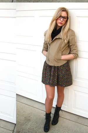 black lace up boots - khaki jacket - black infinity scarf - floral skirt - black