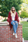 Distressed-three-bird-nest-jeans-moccasins-bearpaw-loafers