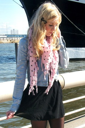 heart print scarf - black bow clip Forever 21 accessories