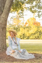 white lace maxi unknown dress - straw boater Nasty Gal hat - Forever 21 blouse