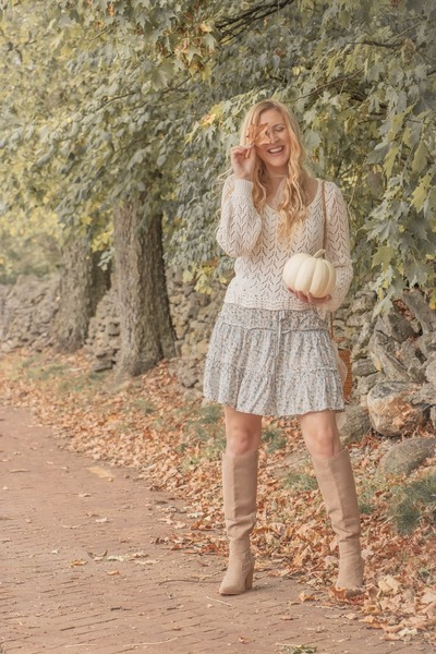 JustFab boots - cream crochet Forever 21 sweater - oeyes skirt
