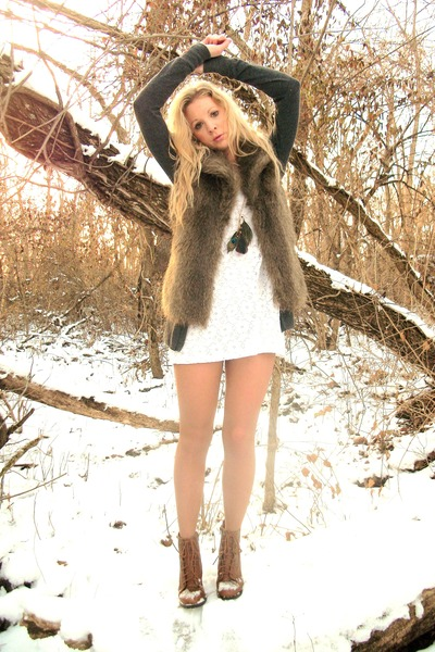 white white lace Forever 21 dress - boots - nude tights