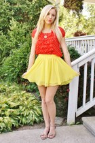 yellow skirt - red polka dot top