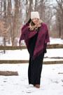 Fur-wedges-bearpaw-boots-black-maxi-thrifted-dress-knit-beanie-bearpaw-hat