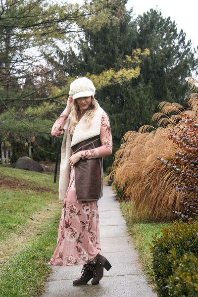 Rue 21 dress - knit newsboy Rosegal hat - faux shearling Just Fashion Now  vest 7acf8f31c2f