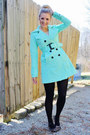 Mint-trench-jacket-black-tights-leopard-print-flats