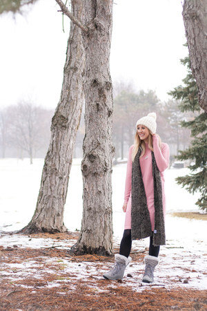 lace up snow bearpaw boots - pink sweater Rosegal dress