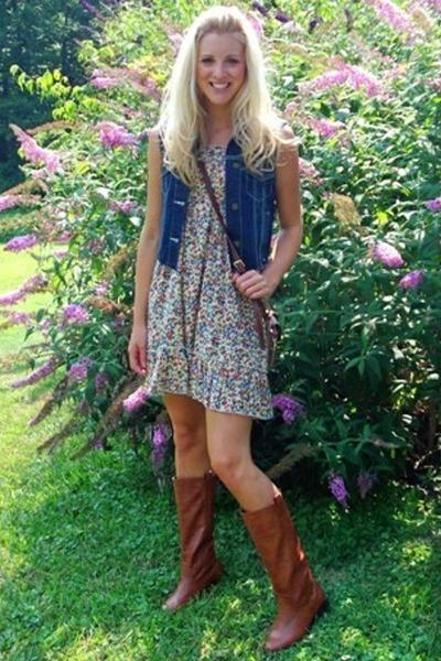 DIY vest - Dooney&Bourke - Forever21 dress - Charlotte Russe boots