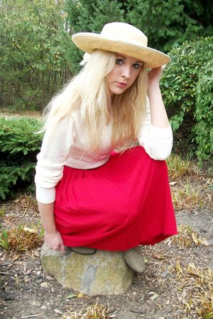 beige hat - red skirt - beige sweater