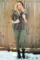 Forever 21 necklace - hat - top - vest - pants - boots