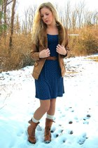 Forever 21 dress - belt - jacket - Forever 21 socks - boots