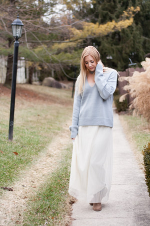 taupe booties boots - vintage blue Tobi sweater - cream chiffon thrifted skirt