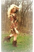 fringe Forever 21 boots - Forever 21 dress