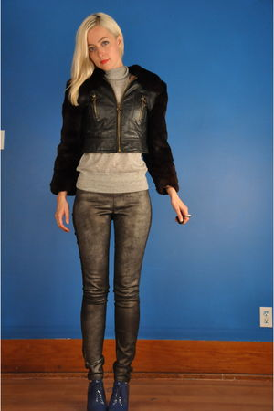black vintage jacket - silver vintage top - gold Helmut Lang leggings - blue Rep