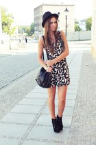 dress - black bag