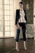 ivory blouse - black blazer