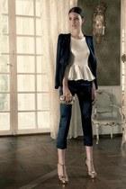 ivory blouse - black blazer