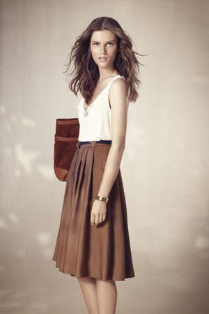 dark brown Massimo Dutti bag - light brown Massimo Dutti skirt