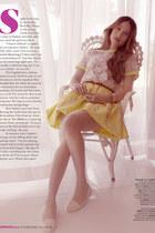 white blouse - bronze belt - light yellow skirt - gold accessories