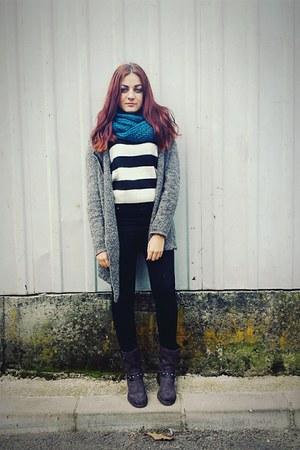 black H&M jeans - gray asos boots - silver H&M blazer
