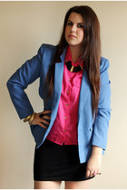 blue vintage blazer - hot pink vintage shirt - black H&M skirt