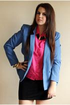 blue vintage blazer - hot pink vintage shirt - black H&M skirt