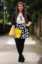 gold OASAP bag - white OASAP top - black new look skirt