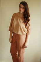 camel asos top - bronze asos pants