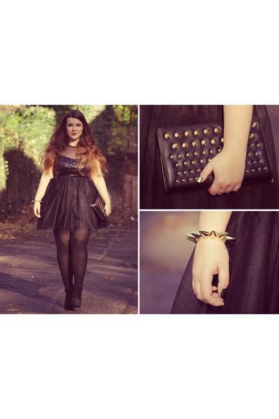 black asos dress - black next bag - bronze Ebay bracelet