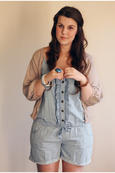 tan Primark cardigan - light blue Primark bodysuit
