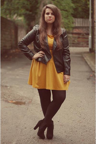 gold Primark dress - black Ebay shoes - black Primark jacket