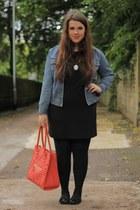 salmon Primark bag - black Miss Selfridge dress - turquoise blue vintage jacket