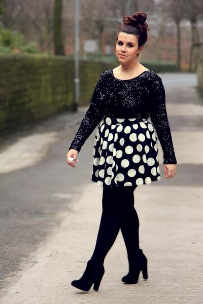white new look skirt - black motelrocks dress