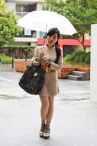 beige unknown dress - olive green Prada bag - beige Topshop socks